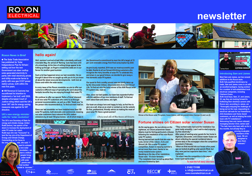 For more news from Roxon, the Summer 2015 newsletter is now available to read online
